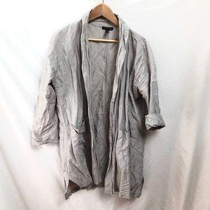 Eileen Fisher Silver Metallic Rumple Jacket EUC